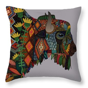 Bison Heather Throw Pillow by Sharon Turner