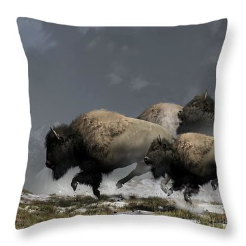 Bison Stampede Throw Pillow by Daniel Eskridge