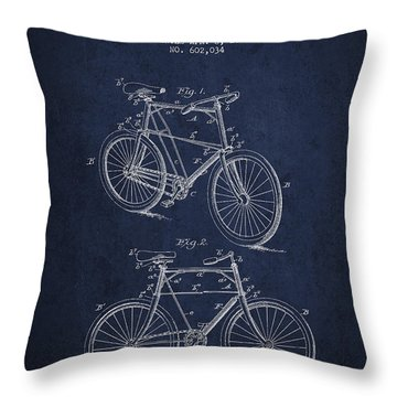 Bisycle Patent Drawing From 1898 Throw Pillow by Aged Pixel