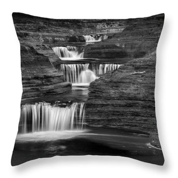 Black And White Cascade Square Throw Pillow by Bill Wakeley