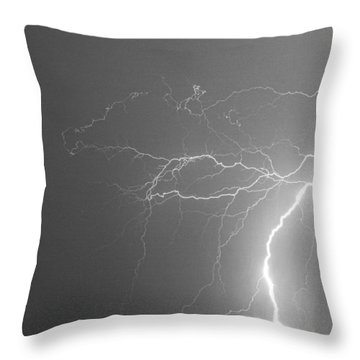 Black And White Tropical Thunderstorm Night  Throw Pillow by James BO  Insogna