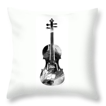 Black And White Violin Art By Sharon Cummings Throw Pillow by Sharon Cummings