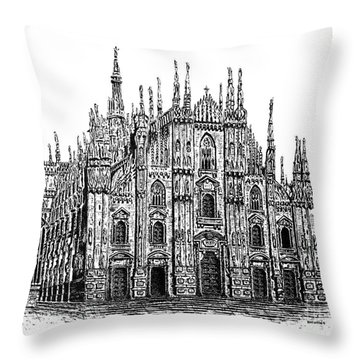 Black And White With Pen And Ink Drawing Of Milan Cathedral  Throw Pillow by Mario Perez