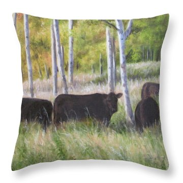 Black Angus Grazing Throw Pillow by Tammy  Taylor