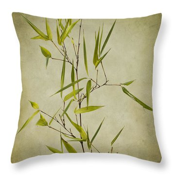 Black Bamboo Stem. Throw Pillow by Clare Bambers