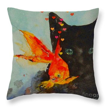 Black Cat And The Goldfish Throw Pillow by Paul Lovering