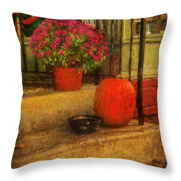Black Dog Coffee And Catering Throw Pillow by Lois Bryan