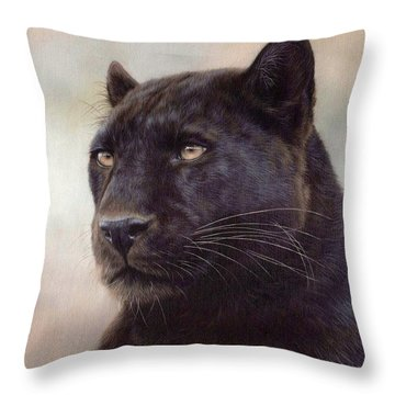 Black Leopard Painting Throw Pillow by Rachel Stribbling