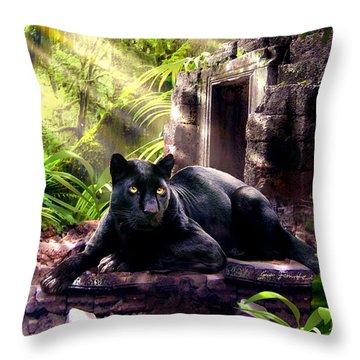 Black Panther Custodian Of Ancient Temple Ruins  Throw Pillow by Regina Femrite