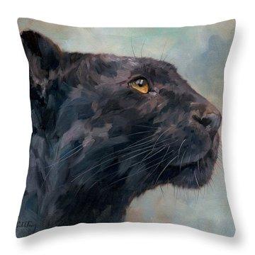 Black Panther Throw Pillow by David Stribbling