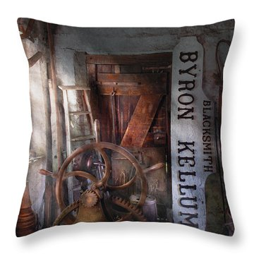 Black Smith - Byron Kellum Blacksmith Throw Pillow by Mike Savad