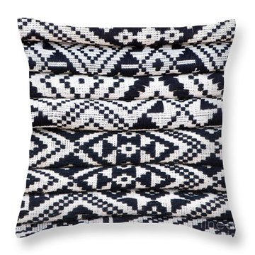 Black Thai Fabric 02 Throw Pillow by Rick Piper Photography