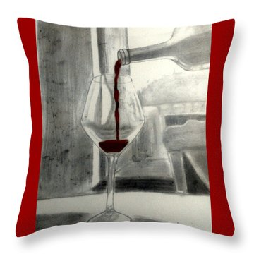 Black White And Red Wine Throw Pillow by Chenee Reyes