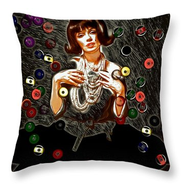 Black Wig Mm Throw Pillow by Daniel Janda