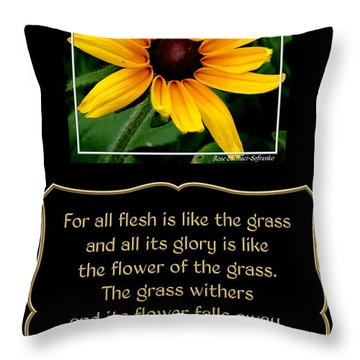 Blackeyed Susan With Bible Quote From 1 Peter Throw Pillow by Rose Santuci-Sofranko