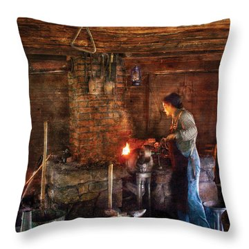Blacksmith - Cooking With The Smith's  Throw Pillow by Mike Savad