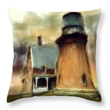 Block Island Light Throw Pillow by Lourry Legarde