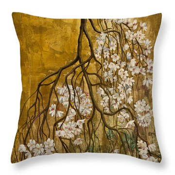Blooming Sakura Throw Pillow by Vrindavan Das