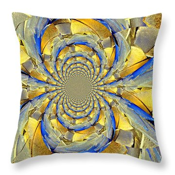 Blue And Gold Throw Pillow by Marty Koch