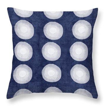 Blue And White Shibori Balls Throw Pillow by Linda Woods