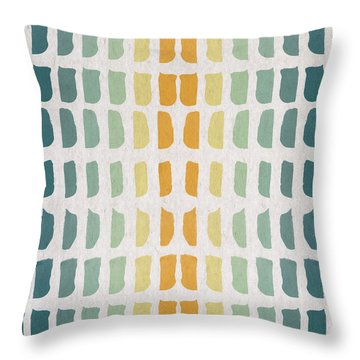 Blue And Yellow Pattern Throw Pillow by Aged Pixel