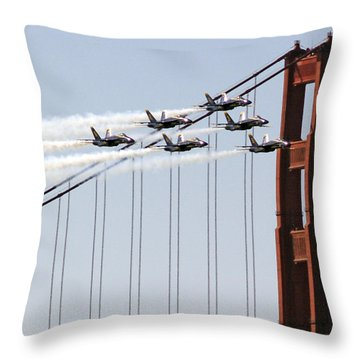 Blue Angels And The Bridge Throw Pillow by Bill Gallagher