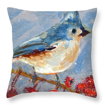 Blue Bird In Winter - Tuft Titmouse Modern Impressionist Art Throw Pillow by Patricia Awapara