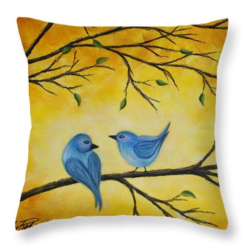 Blue Birds Throw Pillow by Molly Roberts