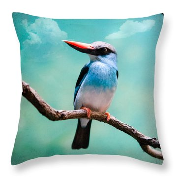 Blue Breasted Kingfisher Throw Pillow by Gary Heller