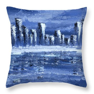 Blue City Throw Pillow by Svetlana Sewell
