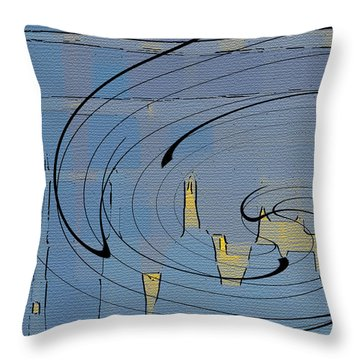 Blue Cityscape Throw Pillow by Ben and Raisa Gertsberg