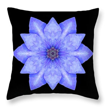Blue Clematis Flower Mandala Throw Pillow by David J Bookbinder