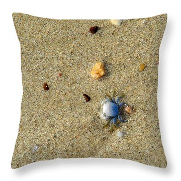 Blue Crab Throw Pillow by Leana De Villiers