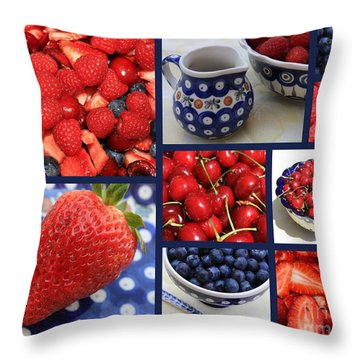 Blue Dishes And Fruit Collage Throw Pillow by Carol Groenen