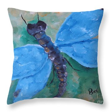 Blue -dragonfly Throw Pillow by Beverly Livingstone
