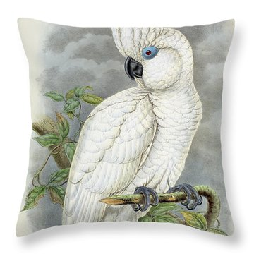 Blue-eyed Cockatoo Throw Pillow by William Hart