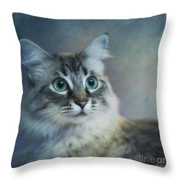 Blue Eyed Queen Throw Pillow by Priska Wettstein