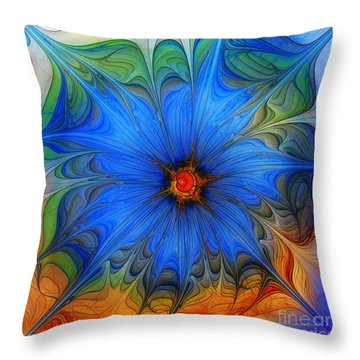 Blue Flower Dressed For Summer Throw Pillow by Karin Kuhlmann