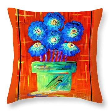 Blue Flowers On Orange Throw Pillow by Eloise Schneider