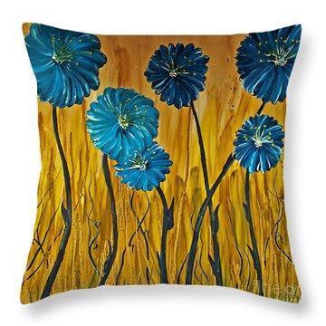 Blue Flowers Throw Pillow by Ryan Burton