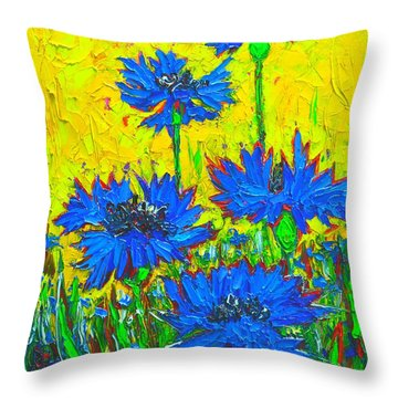 Blue Flowers - Wild Cornflowers In Sunlight  Throw Pillow by Ana Maria Edulescu