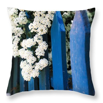 Blue Garden Fence With White Flowers Throw Pillow by Elena Elisseeva