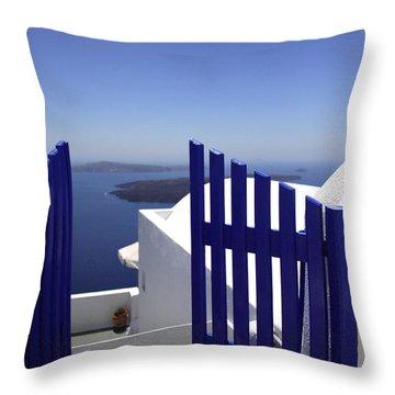 Blue Gate Throw Pillow by Deborah Benbrook