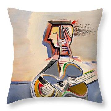 Blue Guitar Throw Pillow by Dennis Davis