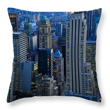 Blue Hour In New York City Usa Throw Pillow by Sabine Jacobs