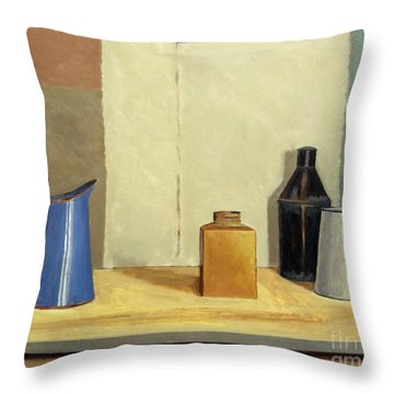 Blue Jug Alone Throw Pillow by William Packer