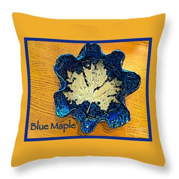 Blue Maple Leaf Dish 2 Throw Pillow by Joan-Violet Stretch