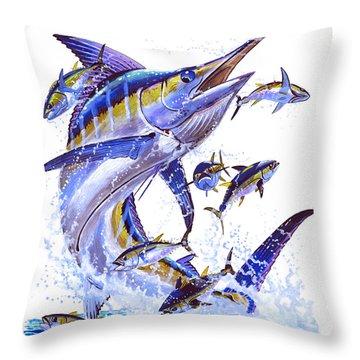 Blue Marlin Throw Pillow by Carey Chen
