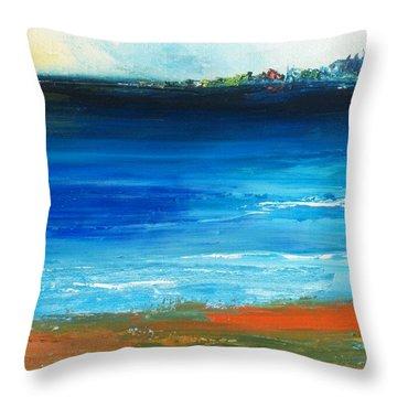 Blue Mist Over Nantucket Island Throw Pillow by Conor Murphy