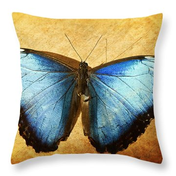 Blue Morpho Butterfly  Throw Pillow by Saija  Lehtonen
